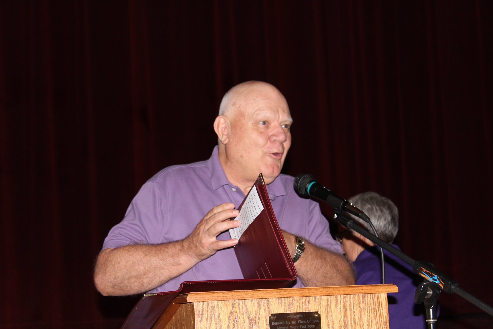 Ames Crosby accepting Athletic HoF award for 1967 footbal team.jpg