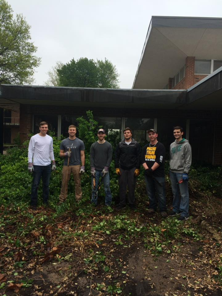 April 30 2016 3 Epsilon Omicron colony of Alpha Sigma Phi fraternity from MWSU in St. Joseph helping with clean up.jpg