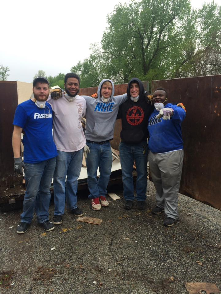 April 30 2016 4 Epsilon Omicron colony of Alpha Sigma Phi fraternity from MWSU in St. Joseph helping with clean up.jpg