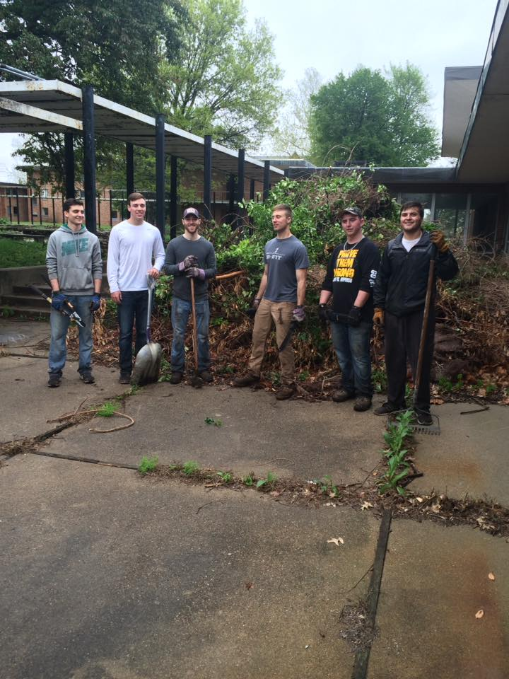 April 30 2016 5 Epsilon Omicron colony of Alpha Sigma Phi fraternity from MWSU in St. Joseph helping with clean up.jpg